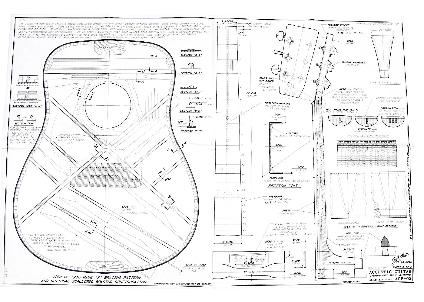 Full Size Blueprint For Dreadnought Style Acoustic Guitar