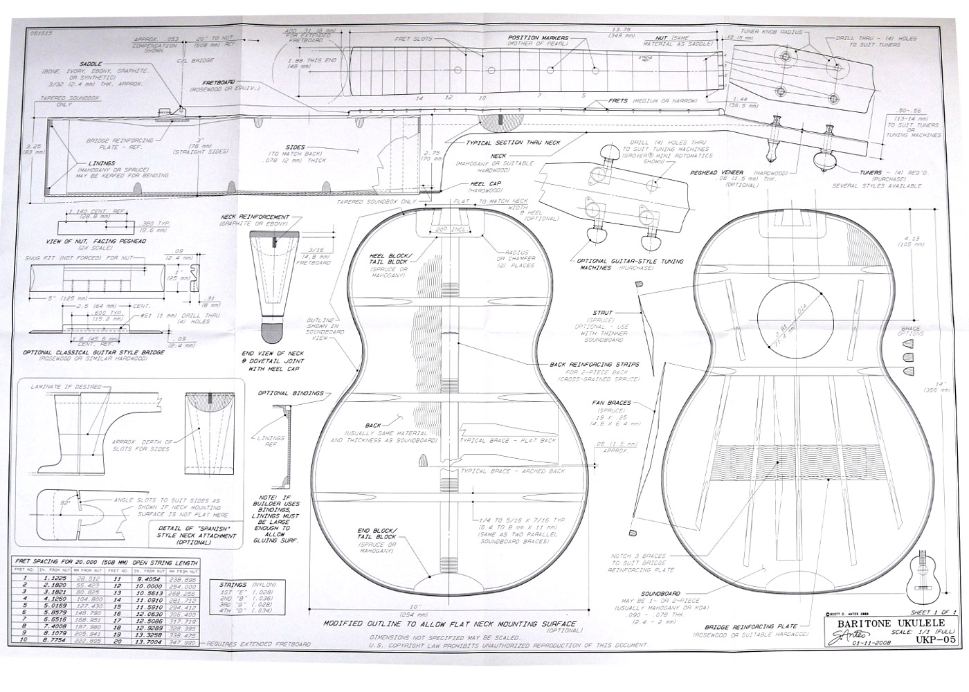 Full size blueprint for baritone ukulele 20 inch scale for Blueprint scale