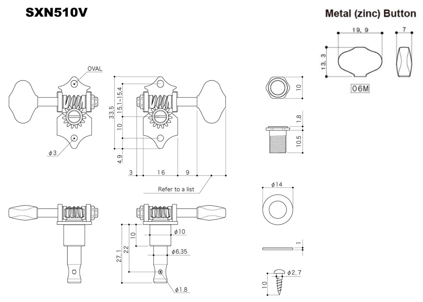 Gotoh Sxn510v G 06m Tuner Set For Electric And Acoustic Guitar 3l Parts Diagram Quick View