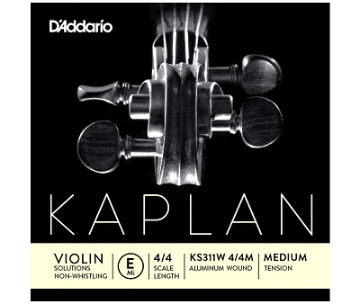 D'Addario Kaplan Non-Whistling Violin E String KS311W 4/4 Scale, Medium Tension