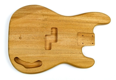 Shaped Precision Bass Unsanded One piece Guitar body, Mahogany