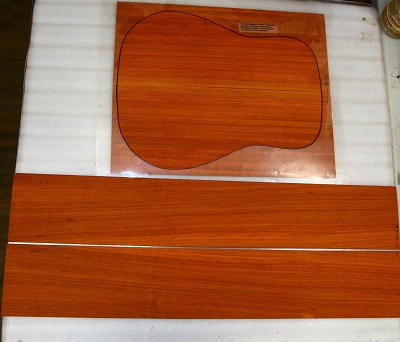 Padauk Dreadnought back & side set - Stock# 8556