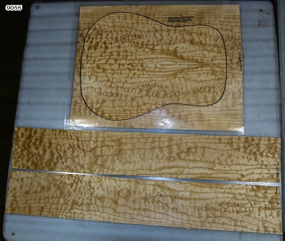 Maple Quilt Dreadnought back & side set (3A FIGURED) - Stock# 9055