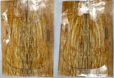 2 matched Spalted Maple Guitar sets, 0.25
