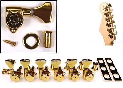 Hipshot 6K1GL0G Gold UMP GripLock Open Tuner set for Electric and Acoustic Guitar (inline L6)