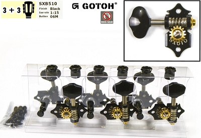 Gotoh SXB510-B-06M Tuner set for Electric and Acoustic Guitar (3L + 3R)