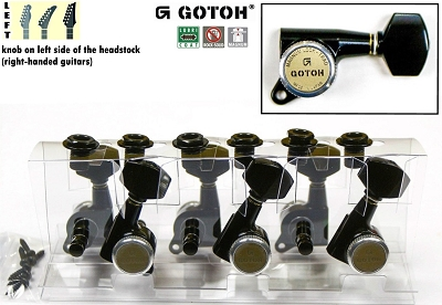 Gotoh SG381-B-AB07 Tuner set for Electric and Acoustic Guitar (6 LEFT) Magnum Lock - Trad