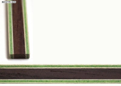 Back strip / Center strip Guitar Inlay, Rosewood with White & Green outline