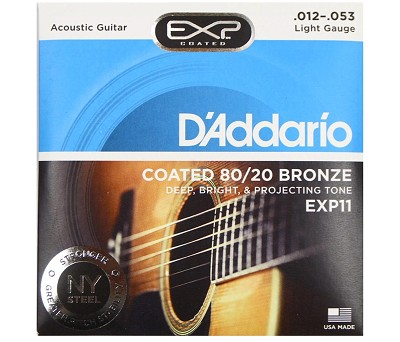 D'Addario EXP11 Coated Phosphor Bronze Acoustic Guitar, Light, 12-53