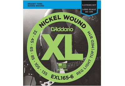 D'Addario EXL165-6 Nickel Wound Bass, Custom Light, 45-135, Long Scale