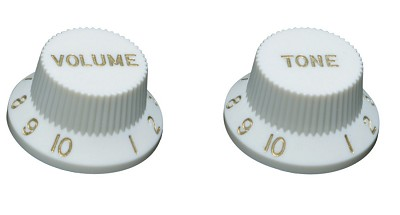 Top Hat Control Knob for Fender Strat® style guitars, Parchment White