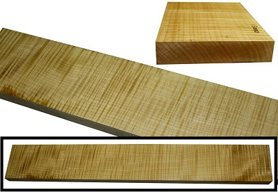 "Maple Flame neck blank: 1"" thick x 2.5"" to 4"" wide x 23"" to 34"" long (4A HIGHLY FIGURED)"